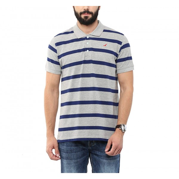 AMERICAN CREW Men's Polo Collar Cotton T-Shirt (Grey Melange & Blue)