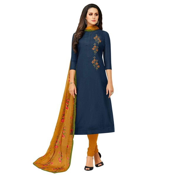 Akhilam Womens Chanderi Cotton Dress Material