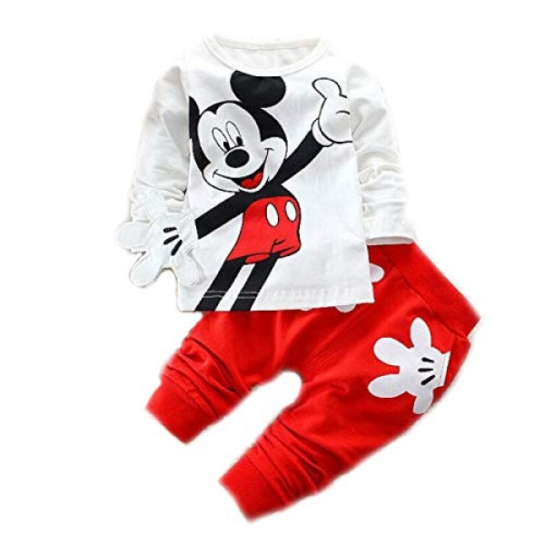 Bold N Elegant Attractive White n Red Mickey Mouse Cute Cartoon Tshirt Pyjama