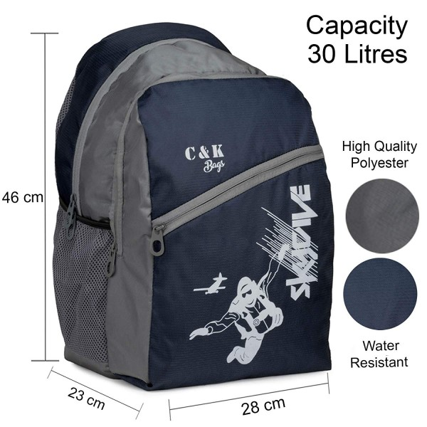 Chris & Kate Polyester 30 L Blue-Grey Spacious Comfort Casual Backpack