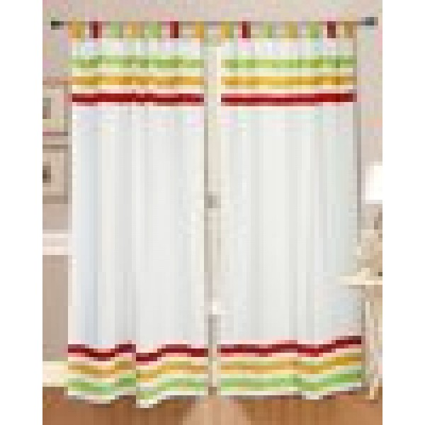 Dekor world Cotton Multi Stripe Loop Curtain Set (Pack of 2 Pcs)