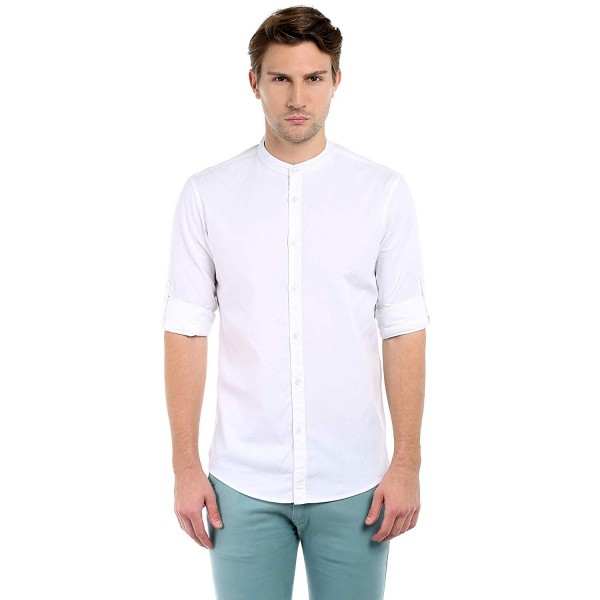 Dennis Lingo Men's Cotton Full Sleeves White Shirt