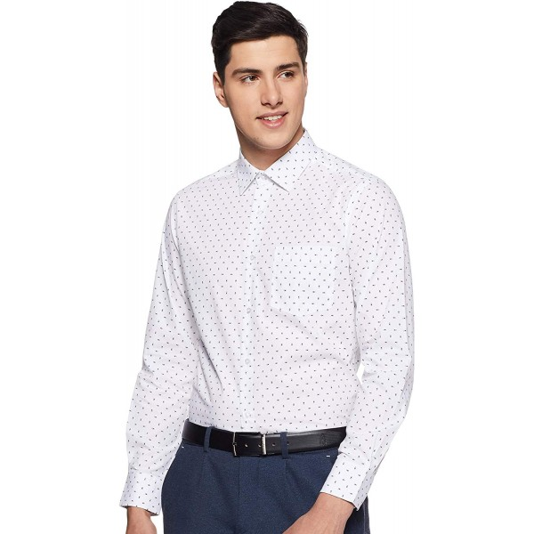 Diverse Men's Printed Regular Fit Formal Shirt (CM_White Color)