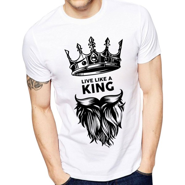 ECOSOUL Cotton T Shirt Printed Live Like King