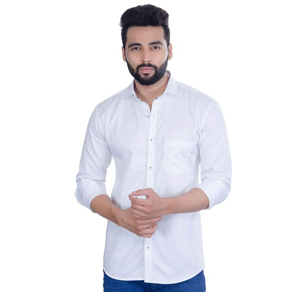 FIFTH ANFOLD Men's White Casual Slim Collar Full Shirt