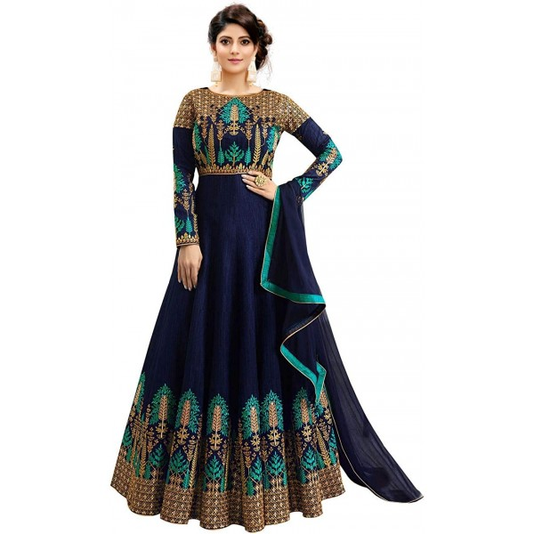 Fast Fashions Women's Embroidered Phantom Slik Semi Stitched Anarkali Gown(Free Size)