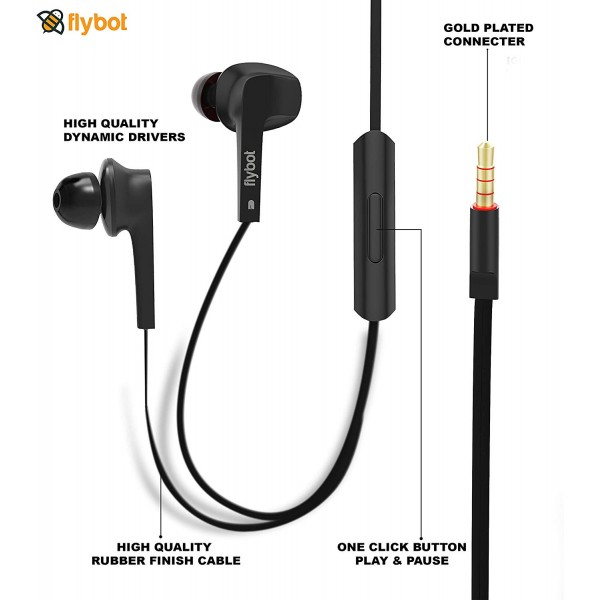 Flybot Strike Wired in Ear Stereo Bass Earphones with Mic