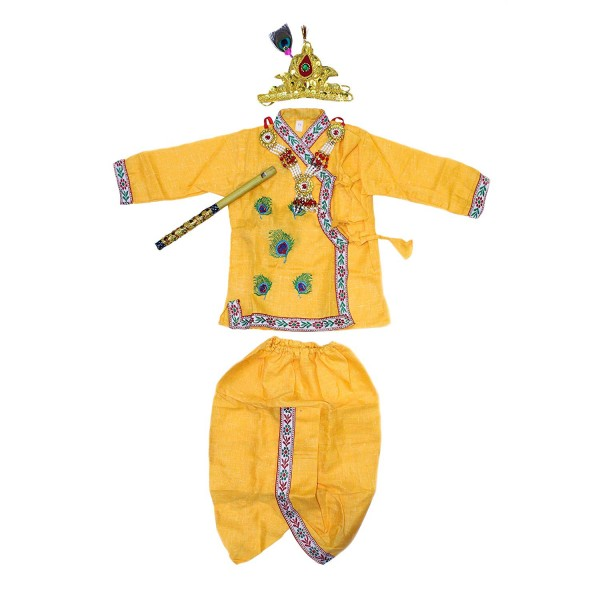 Holy Mart Baby Boy's and Baby Girls' Cotton Krishna Dress with Jewellery