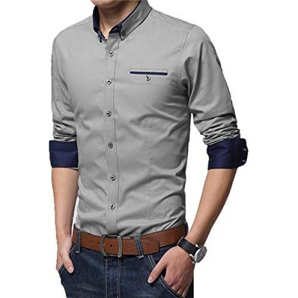 IndoPrimo Men's Cotton Casual Shirt Full Sleeves for Men