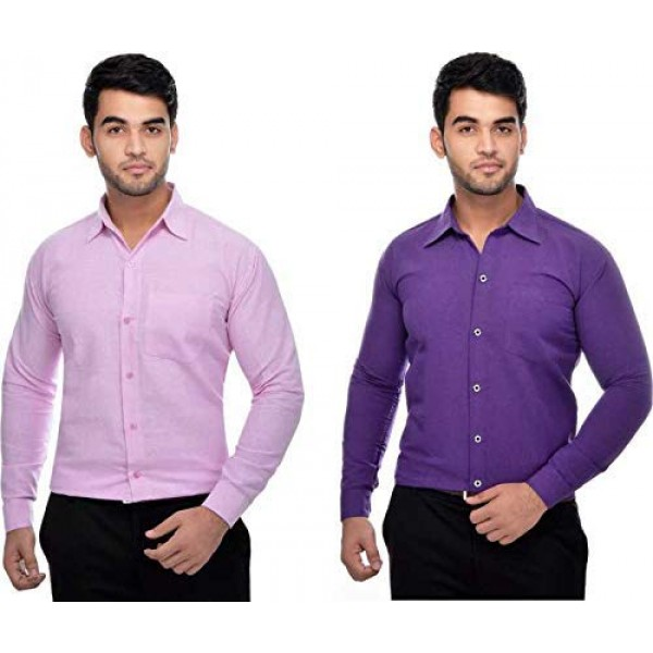 Khadi Vastra Men Solid Full Sleeve Pink and Purple Formal Shirt - Pack of 2