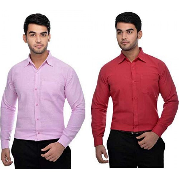 Khadi Vastra Men Solid Full Sleeve Pink and Red Formal Shirt - Pack of 2