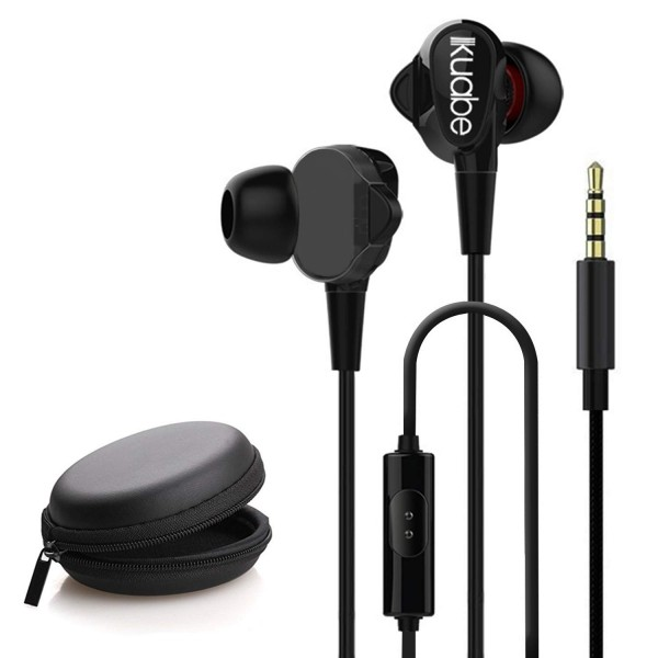 Kuabe W005 High Stereo Bass Dual Driver in-Ear Sport Wired Earphones with Mic (Black)