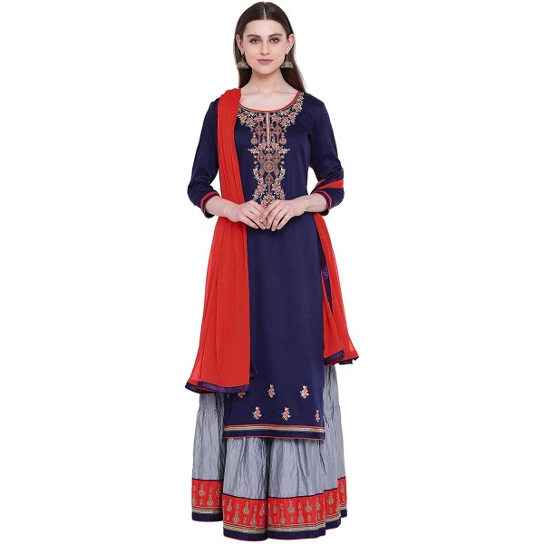 Kvsfab Cotton Blend Embroidered Semi Stitched Salwar Suit Material