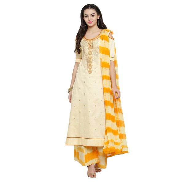 Kvsfab Women's Cotton Blend Embroidered with Zari Unstitched Dress Material