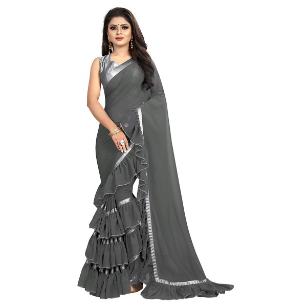 MMW Women's Georgette Ruffle Saree With Blouse Piece (Free Size)