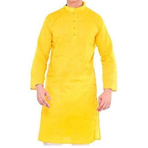 Malaco Men Solid Straight Kurta Yellow