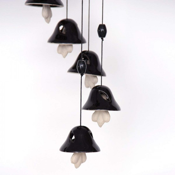 Melodious Sound Ceramic Wind Chimes with 8 Bells in Black