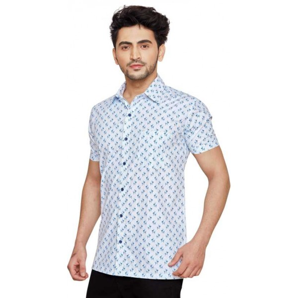 Men Printed Casual Half Sleeve Shirts Spread Shirt for Men's