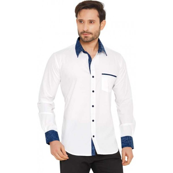 Men Solid Casual Full Sleeve Shirts Button Down Shirt for Men's ( CM_White )