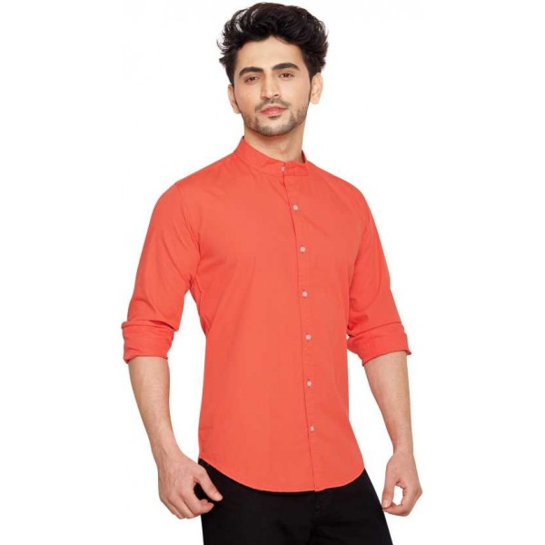 Men Solid Full Sleeve Shirts and Casual Mandarin Shirt for Men's ( CM_Red )