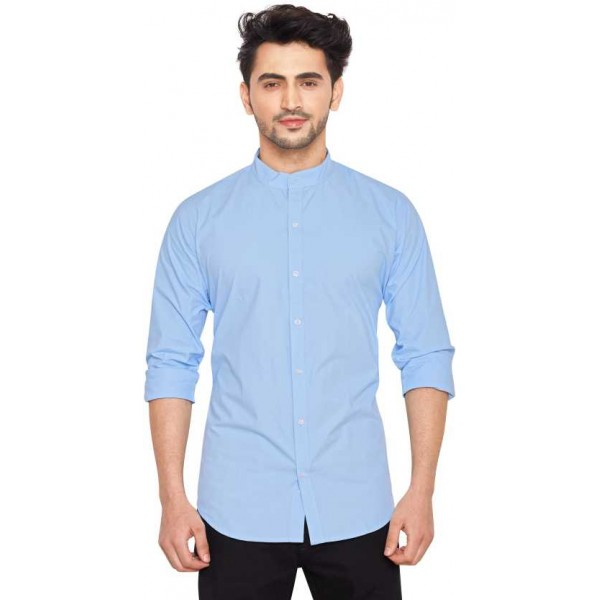 Men Solid Full Sleeve Shirts and Casual Shirts for Men's Mandarin Shirt for Men's