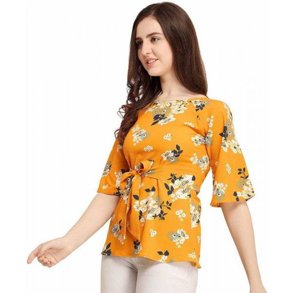 Party Flared Sleeve Printed Women Yellow Top