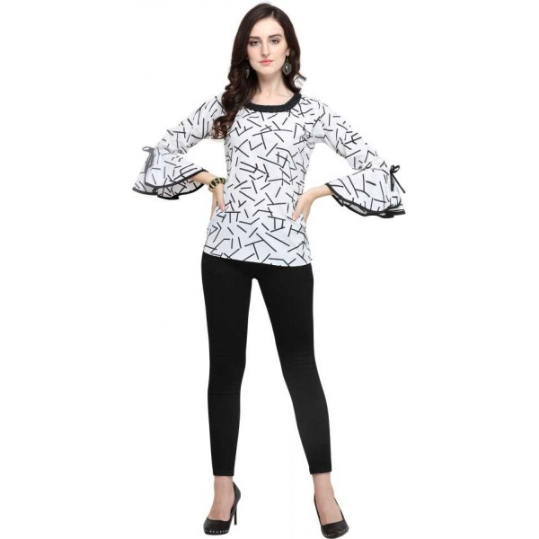 Party Wear 3/4 Sleeve Printed Women White Top