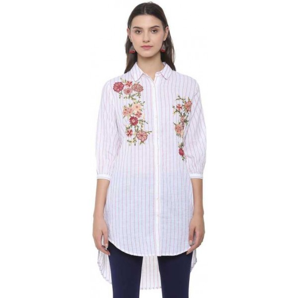 People Women Embroidered, Striped Casual Shirt