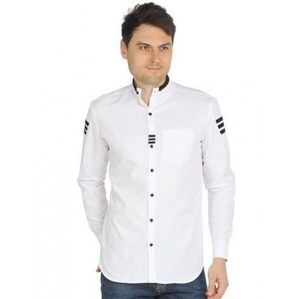 S.N. Casual Cotton Long Full Sleeves Shirts (white )