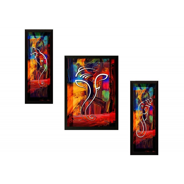 SAF 'Ganesh' Framed Painting (Synthetic, 13.5 inch x 22 inch) Set of 3