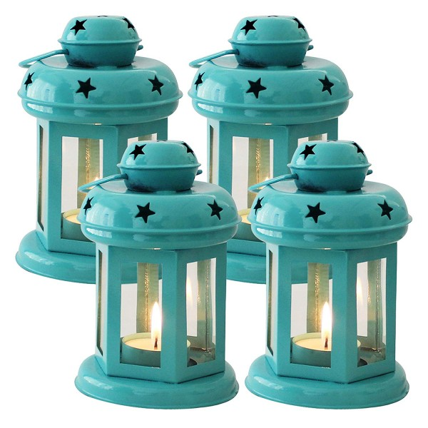 TIED RIBBONS Hanging Lantern Lamps Candle for Home Decoration Set of 4 (Blue)