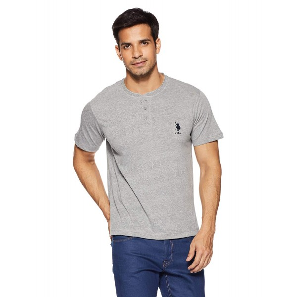 US Polo Association Men's Henley Neck Cotton T-Shirt_Grey