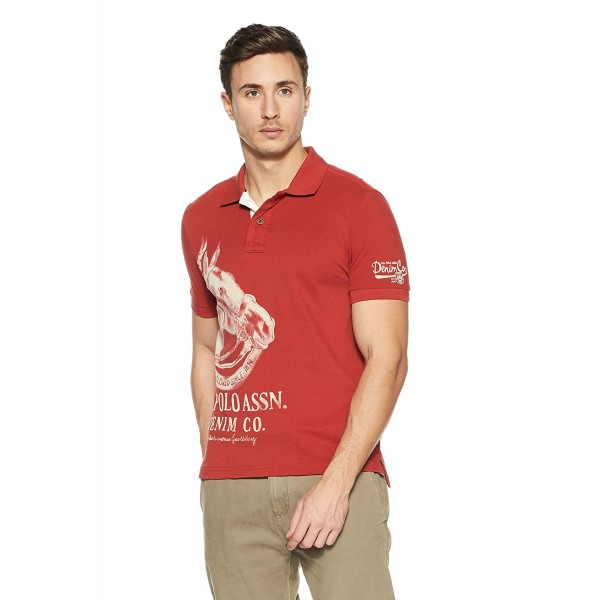 US Polo Association Men's Printed Regular Fit Polo T-Shirt_Red