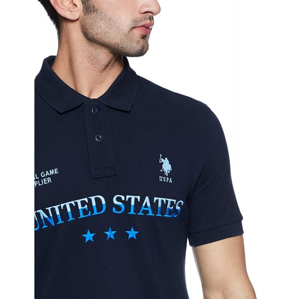 US Polo Association Men's Solid Regular Printed US Fit Polo_Navy