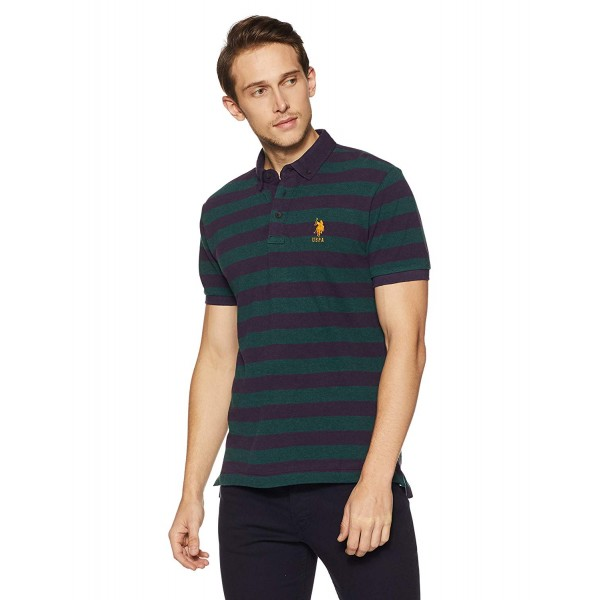 US Polo Men's Solid Regular Fit T-Shirt_Color Green