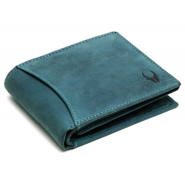 Wild Horn High Quality Leather Blue Wallet for Men