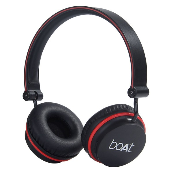 boAt  Rockerz 400 Bluetooth On-Ear Headphones with Mic (Black/Red)