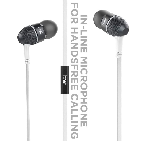 boAt Bass Heads 225 in-Ear Headphones with Mic (White)