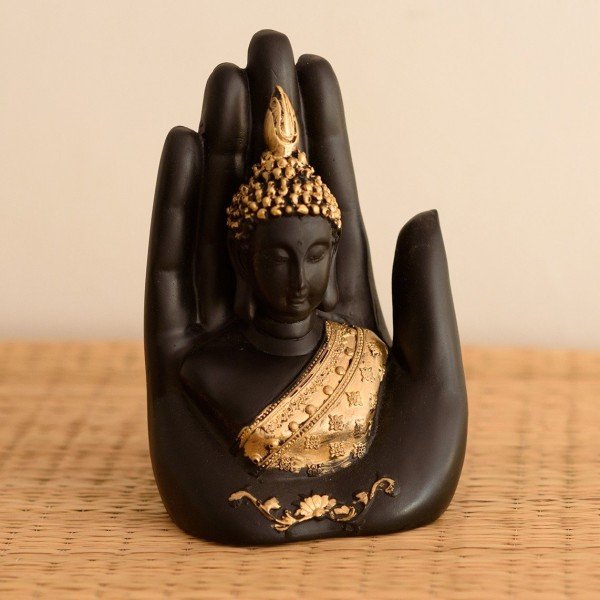 eCraftIndia Jaipur Ace Golden Handcrafted Palm Buddha Polyresin Showpiece