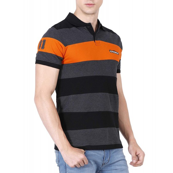 fanideaz Men's Striped Regular Fit Polo T-Shirt